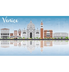 Venice skyline silhouette with gray buildings vector