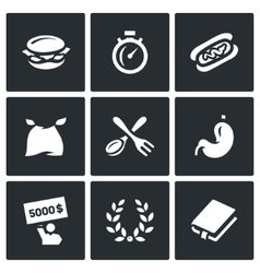 Set of speed eating contest icons burger vector