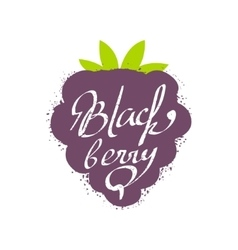 Blackberry name of fruit written in its silhouette vector