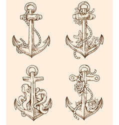 Set of hand drawn vintage anchors vector