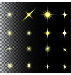 Set of glow light effect stars bursts with vector