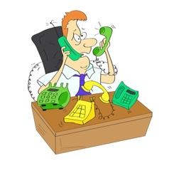 A businessman is torn between phones vector image