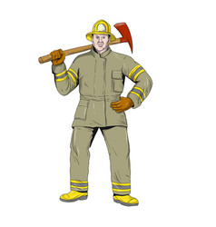 american firefighter fire axe drawing vector image vector image