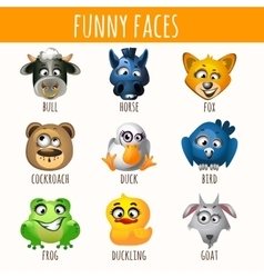 Animal funny faces vector
