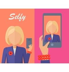 Blonde Woman Making Selfie vector image