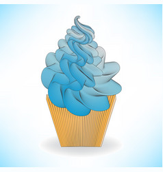 Blue cake or ice cream in a brown cup vector