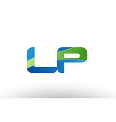 blue green lp l p alphabet letter logo vector image
