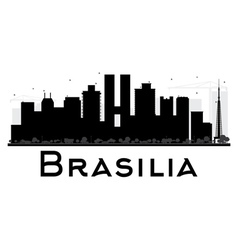 Brasilia City skyline black and white silhouette vector image vector image