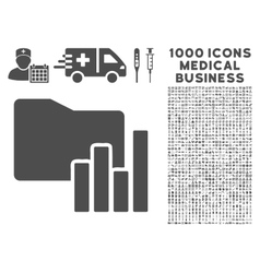 Charts folder icon with 1000 medical business vector