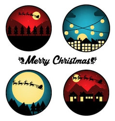 Christmas Night Circle vector image vector image