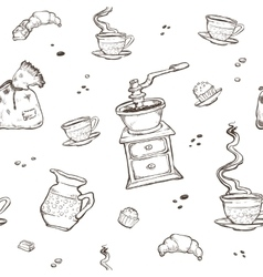 Coffee and dessert seamless pattern food vector