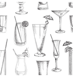 Doodle pattern cocktails vector