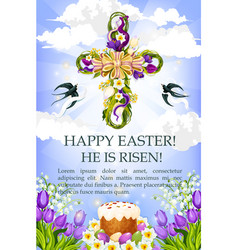 Easter cross with cake egg and flower poster vector