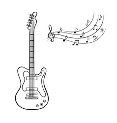 Electric guitar and music notes hand drawn vector
