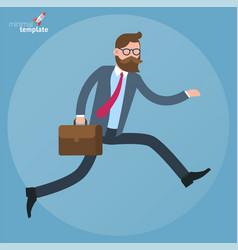 flat design running businessman vector image