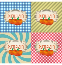 Four types of retro textured labels for pumpkin vector