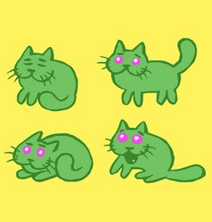 Green cats emoticons set isolated vector
