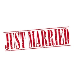 Just married red grunge vintage stamp isolated on vector