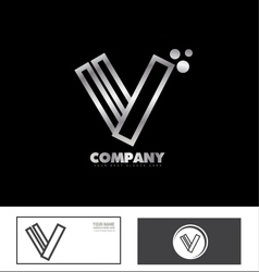 Letter v logo silver metal vector