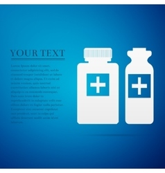 Medical bottles flat icon on blue background vector