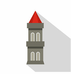 Medieval battle tower icon flat style vector