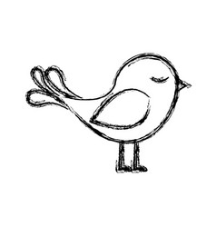 Monochrome sketch with cute bird vector