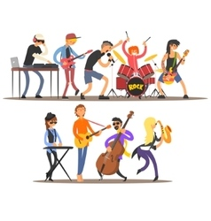 Musicians and mucical instruments vector