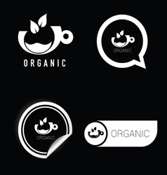 organic symbol black and white vector image vector image