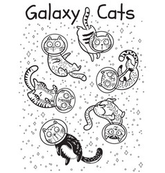 outline print with cats in space coloring vector image vector image