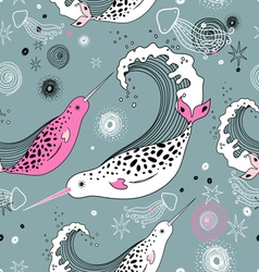 Pattern sea narwhals vector