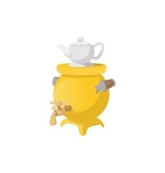 Samovar with teapot icon cartoon style vector image
