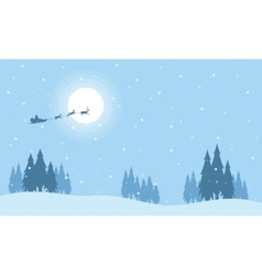 Santa with train deer on the sky silhouettes vector