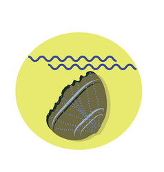 Seashell flat icon with shadow and sea vector