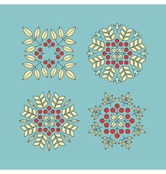 Set Floral Elements Linear Style Line Art vector image vector image