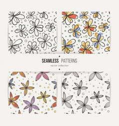 Set of seamless doodle floral patterns vector