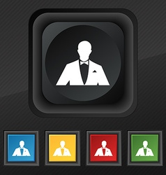 Silhouette of man in business suit icon symbol Set vector image
