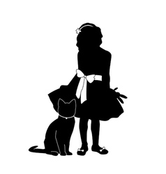 silhouettes girl and cat vector image