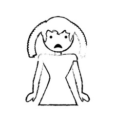 Skecth girl daughter sad face vector