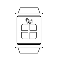 Square watch and gift icon graphic vector