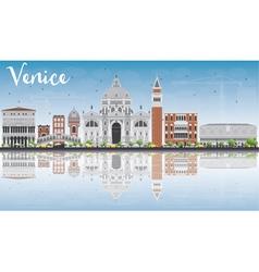 Venice skyline silhouette with gray buildings vector