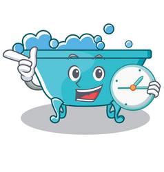 With clock bathtub character cartoon style vector