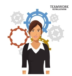 Woman gears work team vector