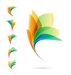 Set of abstract elements logos of petals vector