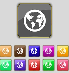 Globe icon sign Set with eleven colored buttons vector image