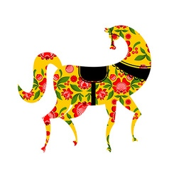 Gorodets painting Black horse and floral elements vector image