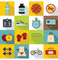 Healthy life icons set flat style vector