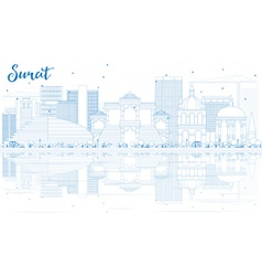 Outline surat skyline with blue buildings vector