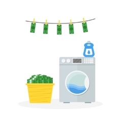 Money laundering in washer concept vector