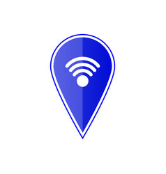 Blue map pointer with wi fi symbol vector