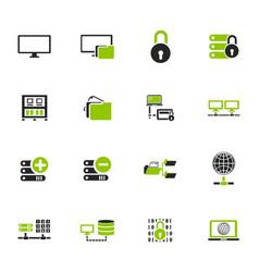 Internet server network icons set vector